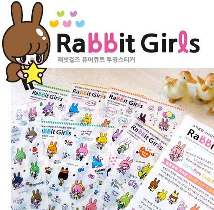 6 teile/los Korea Kaninchen Mädchen serie PVC aufkleber Set DIY Multifunktions dekoration aufkleber