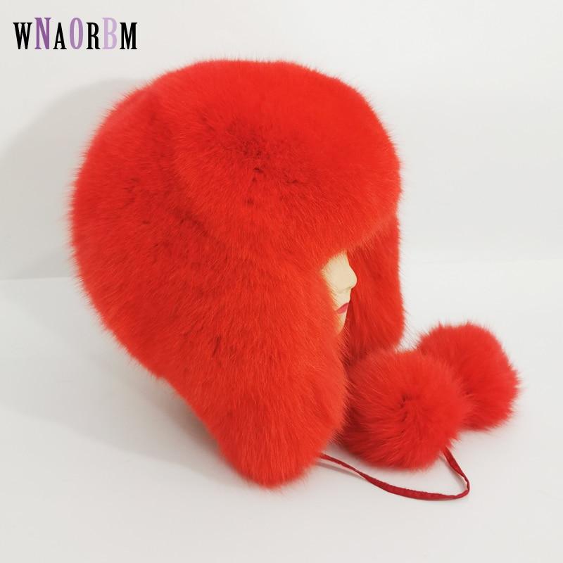 new 7 Color women Fur Hat Siberian Style Fur Hat fox hat Full Ushanka Hat for middle-aged cotton cap Lei Feng hat Winter hat