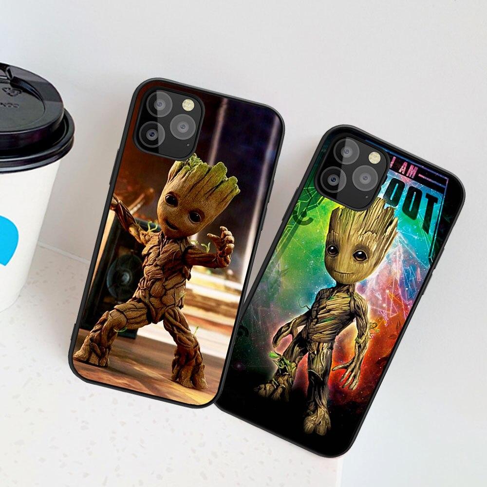 Caja del teléfono para iPhone XR 10 11 Pro max 8 7 6 6S Plus X XS X Max 5 5S SE Marvel Hombre de Hierro vengadores Groot suave de la cubierta del TPU del