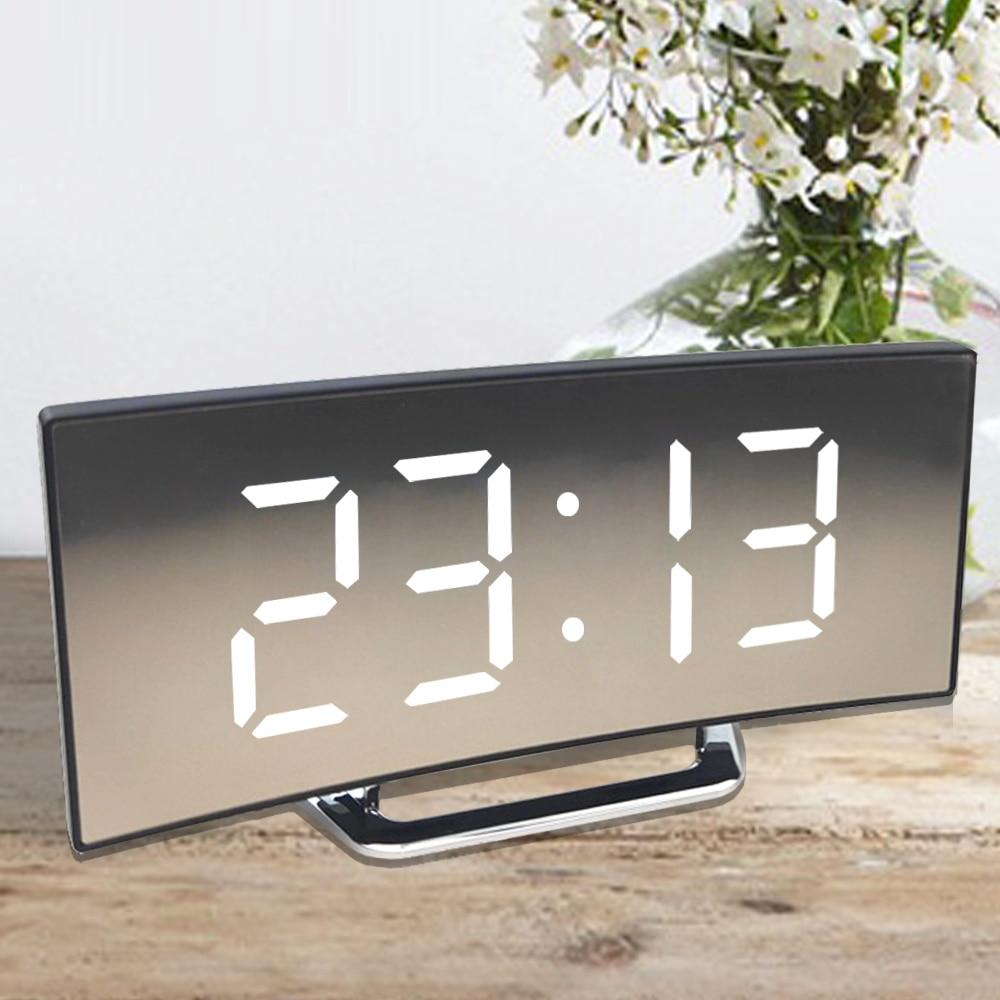 Digital Alarm Clock Desk Table Clock Curved LED Screen Alarm Clocks for Kids Bedroom Temperature Sno