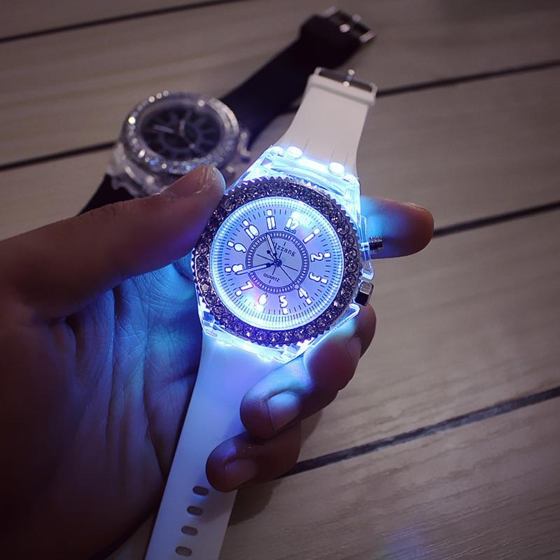 Hot Selling Fashion Promotion Geneva LED Light Men Quartz Watch Ladies Women Silicone Wristwatch Relogio Feminino Relojes