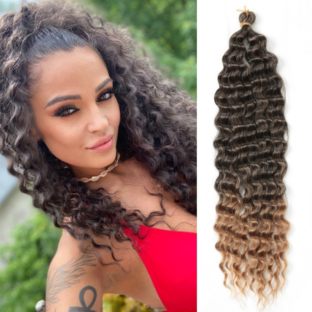 22inch-28inch Long Deep Wave Twist Crochet Hair Synthetic Braiding Hair Curl Wave Extensions For Bla