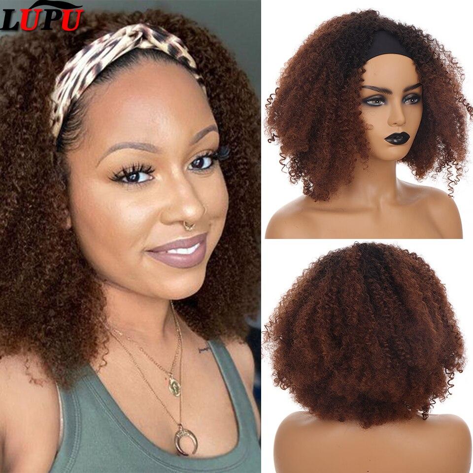 lupu longo afro kinky curly bandana peruca para preto mulher fibra de alta temperatura
