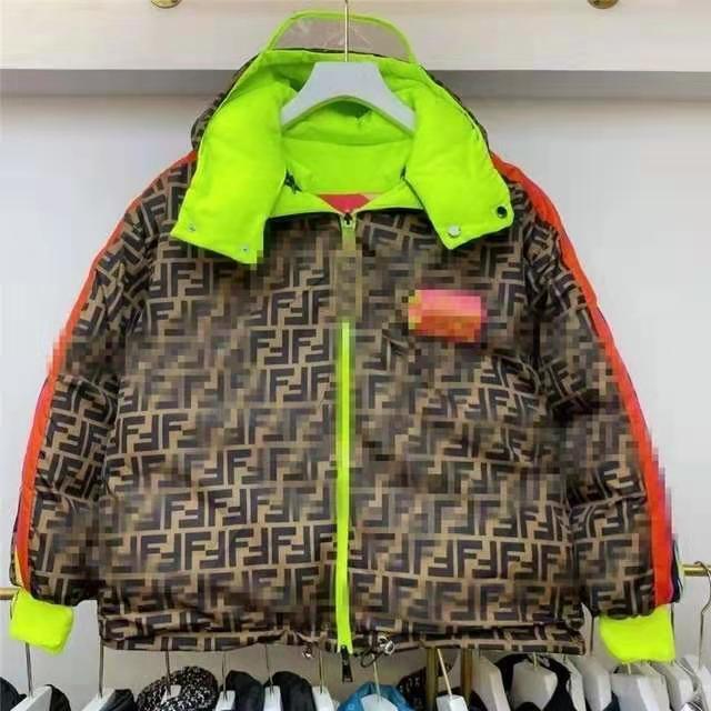 2021 moda nova outono e inverno f casaco duplo lado impressão casaco de algodão dois lados para baixo casaco de pão casaco casal casaco