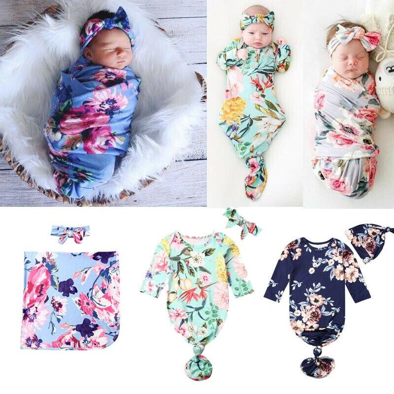 PUDCOCO Newborn Baby Infant Swaddle Wrap Blanket Sleeping Bag+Headband/Hat Set 2PCS