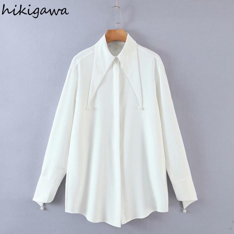 Hikigawa Blusas الكورية موضة اللؤلؤ بدوره أسفل طوق طويلة الأكمام قمصان الفرنسية الصلبة عادية فضفاض مستقيم بلوزة القمم