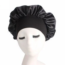 1pc Silk Head Wrap Shower Cap Adjust Solid Satin Bonnet Hair Styling Cap Long Hair Care Women Night
