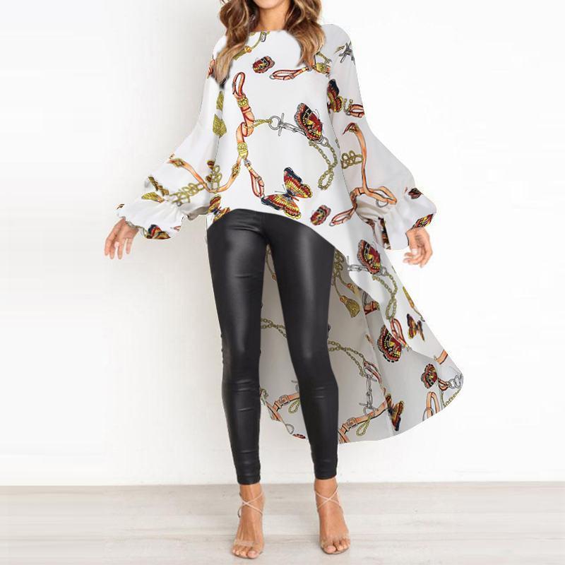 VONDA 2020 Irregular Tops bohemios mujeres Vintage manga larga impreso fiesta blusa túnica playa Split camisas de talla grande