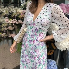 2020 Vintage V neck Contrast Polka Dot Floral Print Long sleeve Dress Women Korean Midi Dresses Sexy Chiffon Vestidos White
