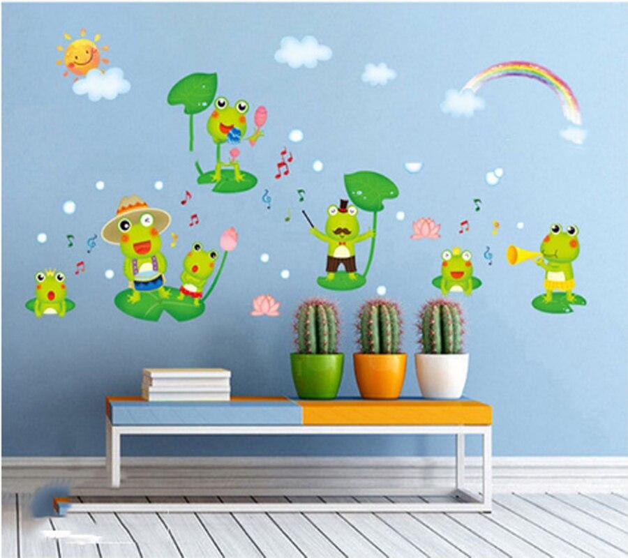Pegatinas de pared de dibujos animados de rana feliz para habitación de niños, decoración del hogar, pegatinas de mural de animales para papel tapiz de guardería