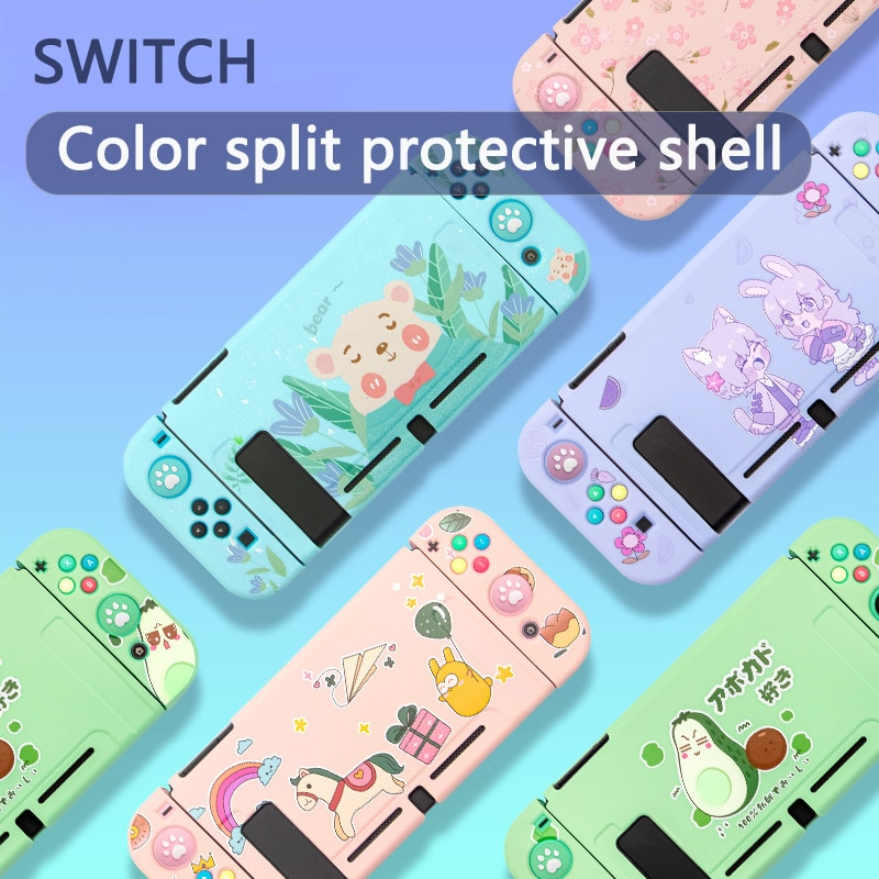 Soft TPU Case for Nintendo Switch Shell Colorful Cute Case Parrot baby Cartoon Cover Back Grip Shell For Nintendo Switch Acc