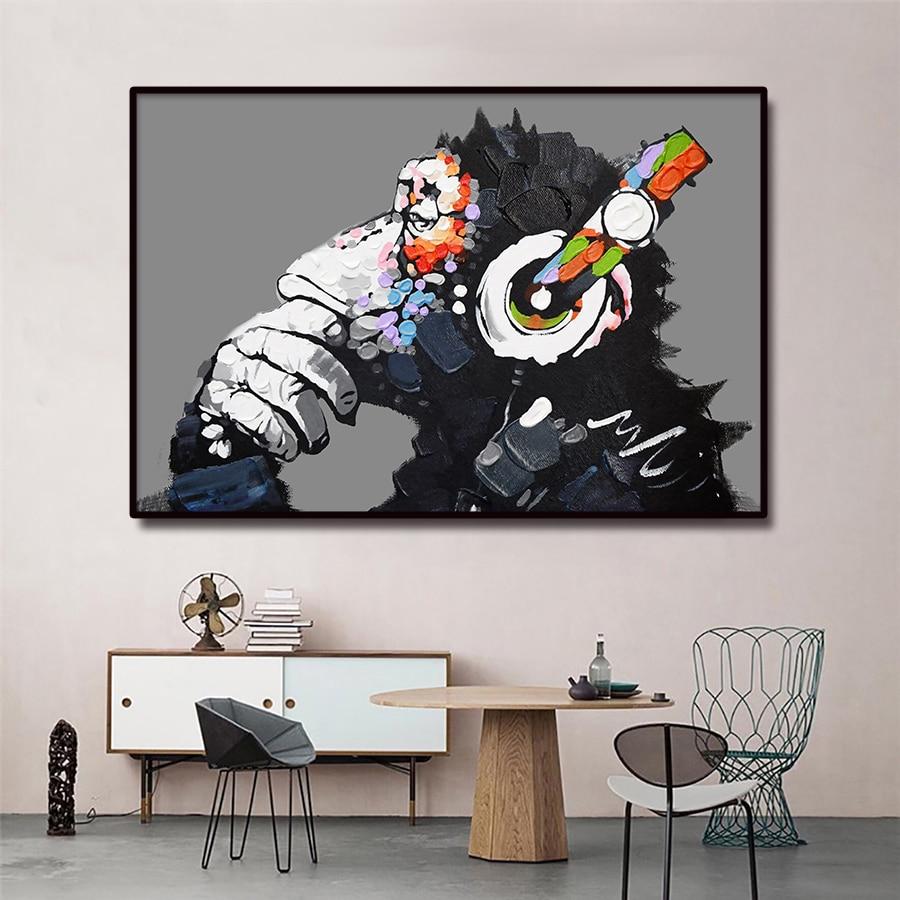 Pintura al óleo de calle de pintor, lienzo de mono, pintura de arte, foto de grafiti impresa, Póster Artístico abstracto para pared, decoración del hogar