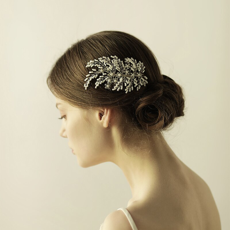 O841 Plastic beads wedding hair comb bridal professional comb for hair bridal pearl hairpiece wedding accessory недорого