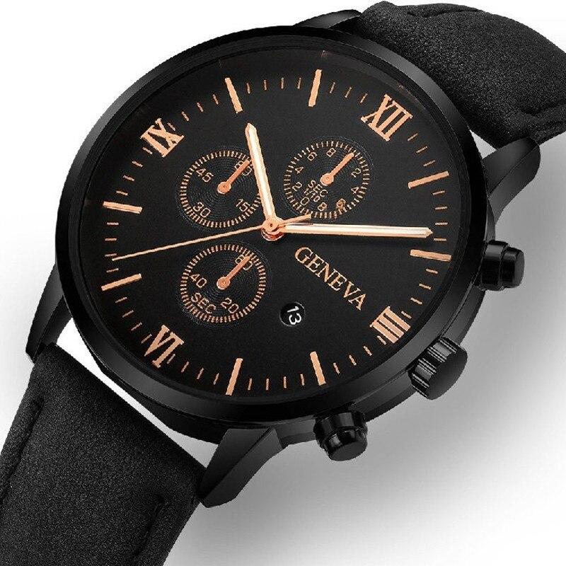 Горячая Распродажа 2021, новые деловые мужские кварцевые часы для отдыха, мужские часы с календарем и ремешком, подарки