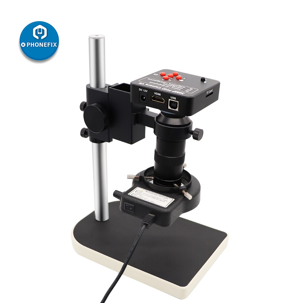 38MP HDMI VGA Industry Digital Microscope HD Camera 180X C mount lens 56LED ring Light For Phone Electronics Soldering Repair