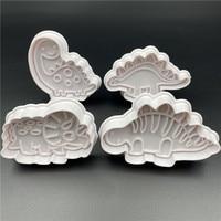 4 шт./компл. Декоративная Пластиковая форма для печенья в виде динозавра, кухонные инструменты для украшения тортов своими руками, резак для ...