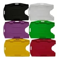 plastic multi colors 2 pieces id badge holders 2 sided open faced rigid id card holder