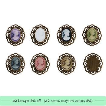 oval cameo metal button flatback can choose colors 10PCS/lot(BTN-5658)