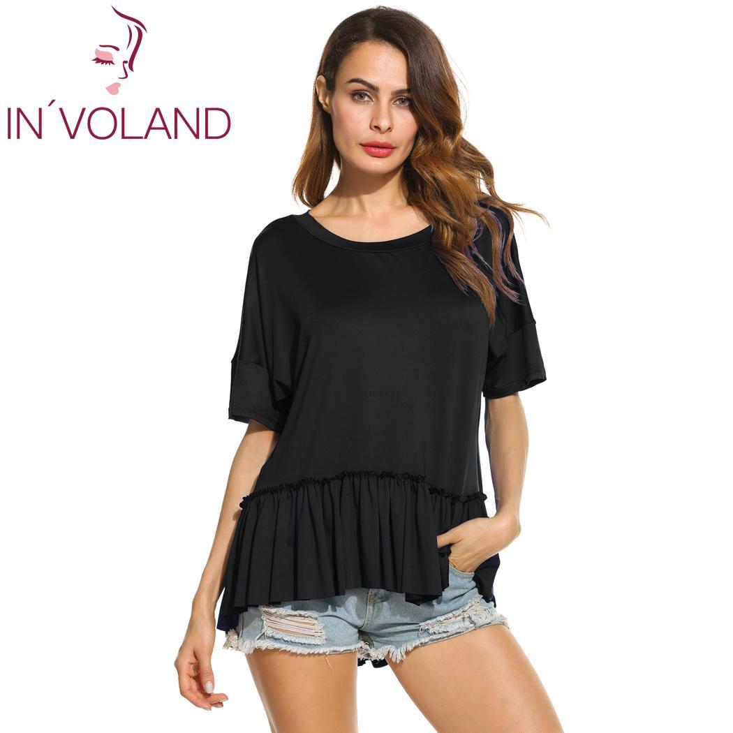 Camiseta de manga de murciélago para mujer, Tops de verano, dobladillo alto bajo con volados, camisetas holgadas e informales para chicas, tallas S-XXL 3 colores