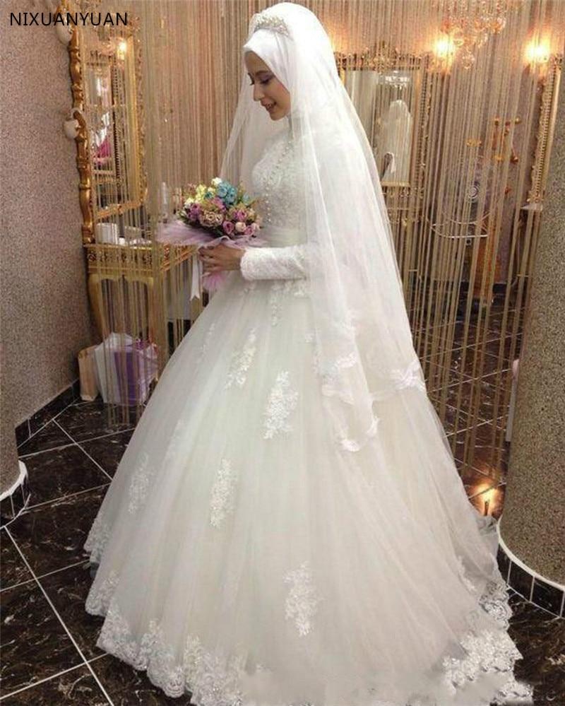 Vestido De Noiva Arabic Bridal Gown Islamic Long Sleeve Muslim Wedding Dress Arab Ball Gown Lace Hijab Wedding Dress 2020