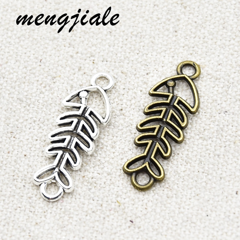 15pcs Wholesale Two Color Fish Bone Connector Charms Alloy Metal Pendants For DIY Handmade Jewelry Accessories Making 30*11mm недорого