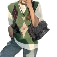 knitted sweater vest women 2021 south korea new style v neck early spring rhomboid outer wear and inner sweaters t177