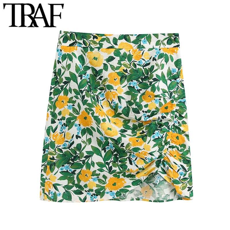 TRAF Women Chic Fashion Floral Print Draped Mini Dress Vintage High Waist Side Zipper Female Skirt Faldas Mujer