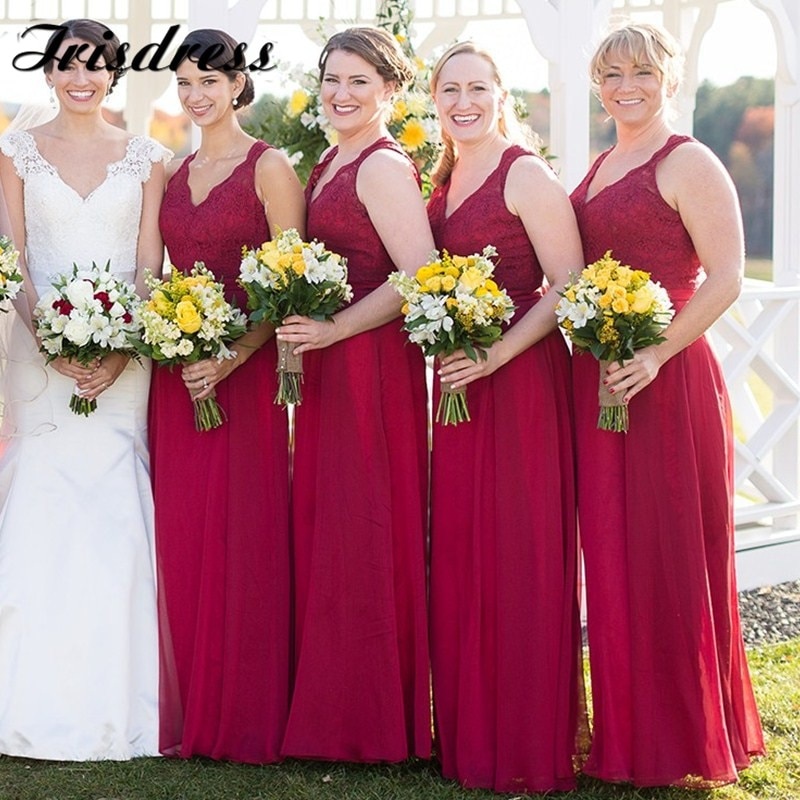 beauty emily a line lace red bridesmaid dresses 2019 long for women wedding party prom women dresses Applique Lace Bridesmaid Dresses Long 2019 Fuchsia Chiffon A Line Wedding Guest Dress Party For Women Backless vestido de festa