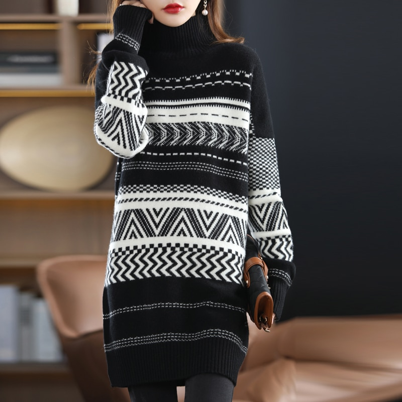 21 Autumn Winter New Pure Wool Sweater Women's Pullover Pack Hip Top Retro Jacquard Knitted Bottoming Shirt Loose And Lazy Style enlarge