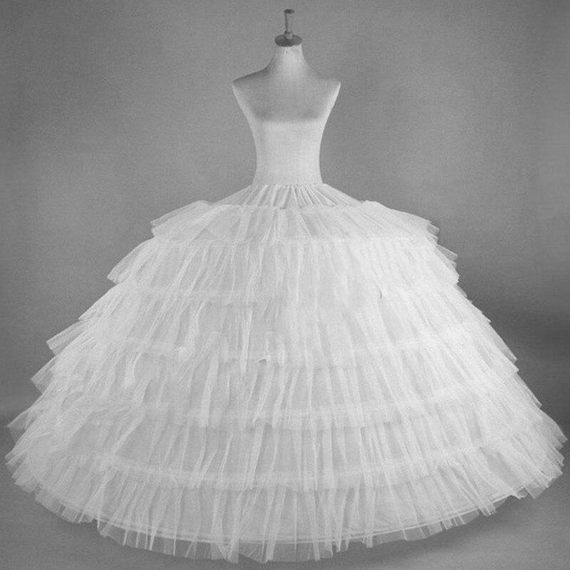 Белые тюлевые Подъюбники 6, для свадебного платья, большие размеры, пышные женские бальные нижние платья, кринолиновая Pettycoat, юбка-кольца