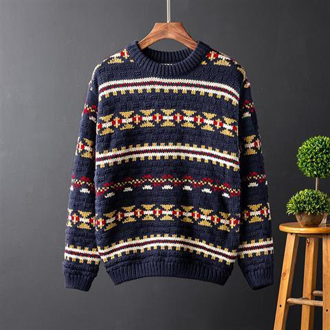 Фото - Autumn and Winter Harajuku ethnic sweater coat men's Korean youth couple loose thickened round neck knitted sweater men fall winter sweater men thickened korean fashion personality sweater lazy pullover sweater coat