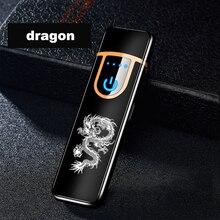 Novo dragão totem série isqueiros eletrônicos popular carregamento mais leve sensor de tela toque dos homens e das mulheres cigarro do carro acessórios