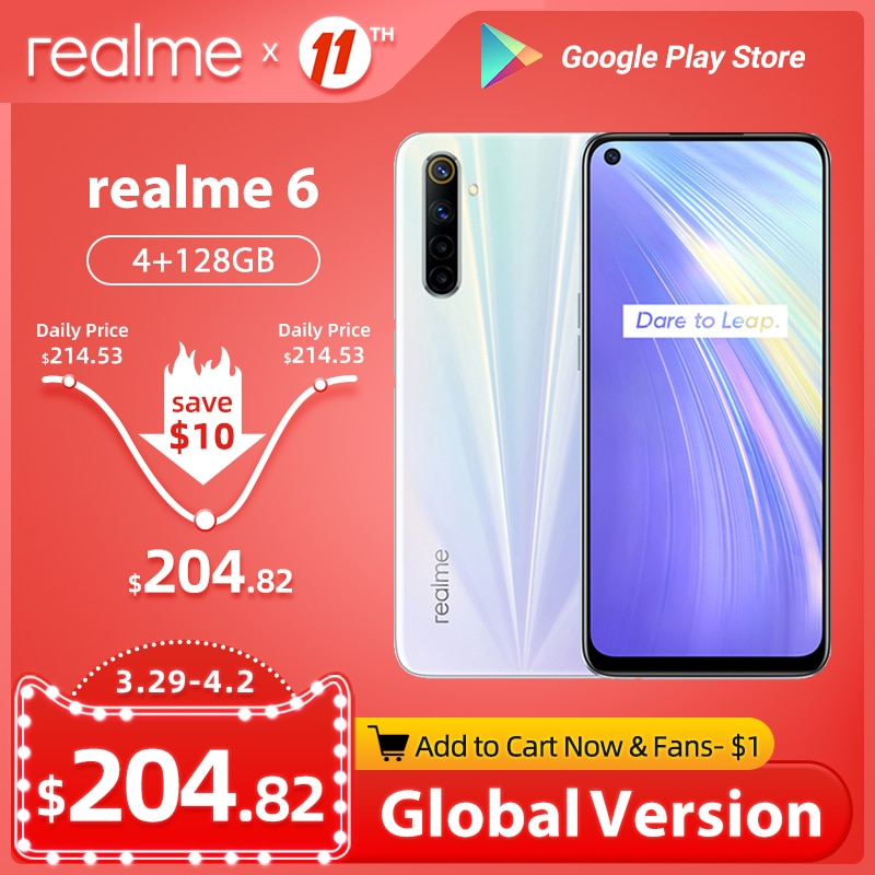 realme 6 Global Version 4GB 128GB Mobile Phone 90Hz Display Helio G90T smartphone 30W Flash Charge 4300mAh 64MP Camera Cellphone