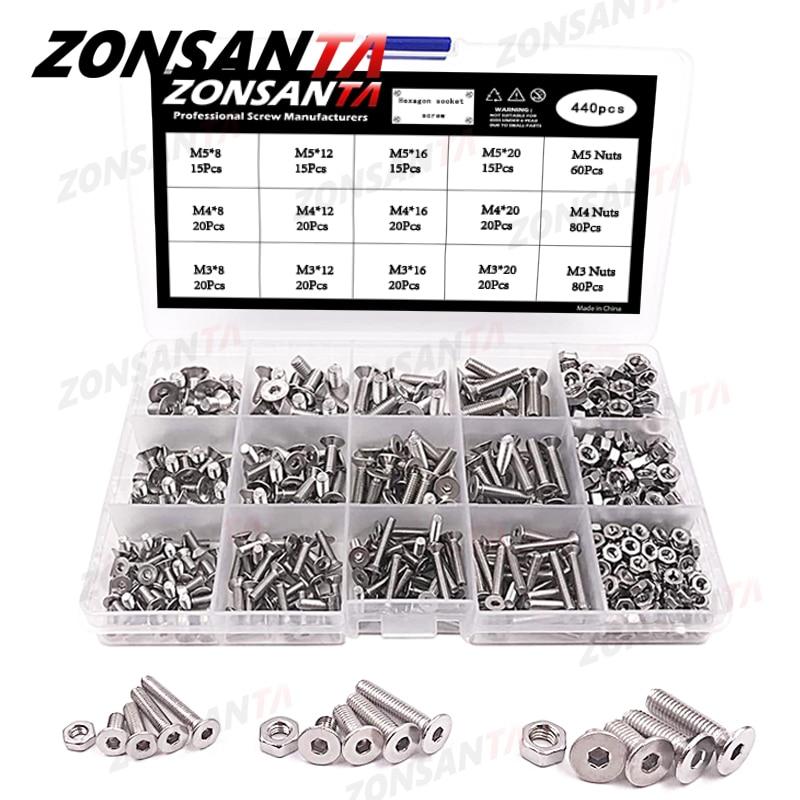 ZONSANTA-براغي سداسية برأس مسطح ، مجموعة صواميل M3 M4 M5 440 ، فولاذ مقاوم للصدأ ، ميكانيكي ، مسامير أثاث ، 304 قطعة
