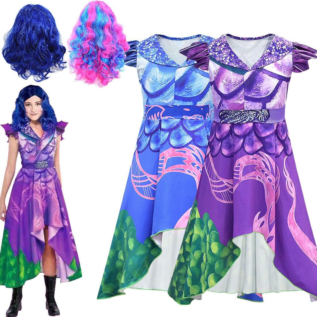 Meninas cosplay traje descendentes 3 vestido roxo cosplay traje crianças 3d impresso halloween meninas carnaval festa meninas trajes