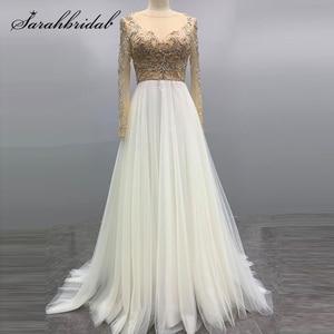 New Sparkle Evening Dresses A Line Jewel Zipper Long Sleeve Court Train Tulle Gown 2021 Women Button Beaded Robe De Soiree 5591