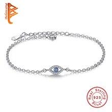 Bracelets de luxe en argent Sterling 925 Bracelet à breloques en cristal CZ émail bleu perles oeil chanceux Bracelet pour femmes turquie bijoux