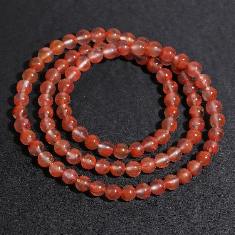Semilla de hielo Natural, hielo flotante ágata roja del Sur llama Chuan pulsera de tres círculos cuatro cuentas de cadena de mano de cristal