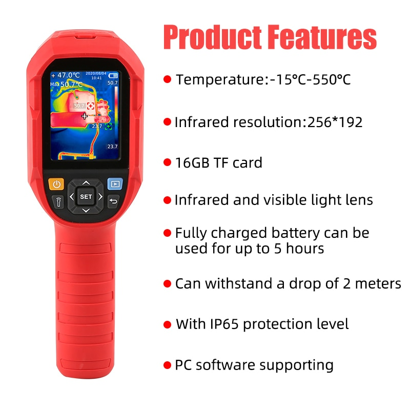 XEAST UTi260B Infrarot Thermische Imager -15 ~ 550 °C Industrielle Thermische Imaging Kamera Handheld USB Infrarot Thermometer 16G
