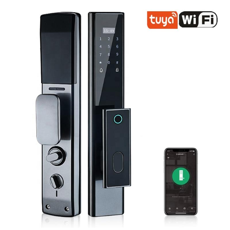 tuya Code Fingerprint Mechanical Key card unlock by app home automation system multi-functional smart electronic door locks
