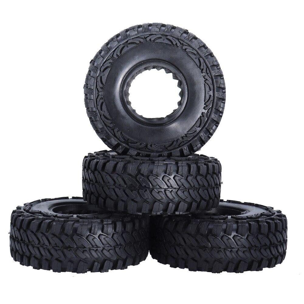 4 Uds 1,9 pulgadas Beadlock ruedas 114mm de goma de neumáticos de goma hexagonal 12mm para 110 RC Rock Crawler coche Axial SCX10 Trassas TRX4 CC01 D90 D110 TF2