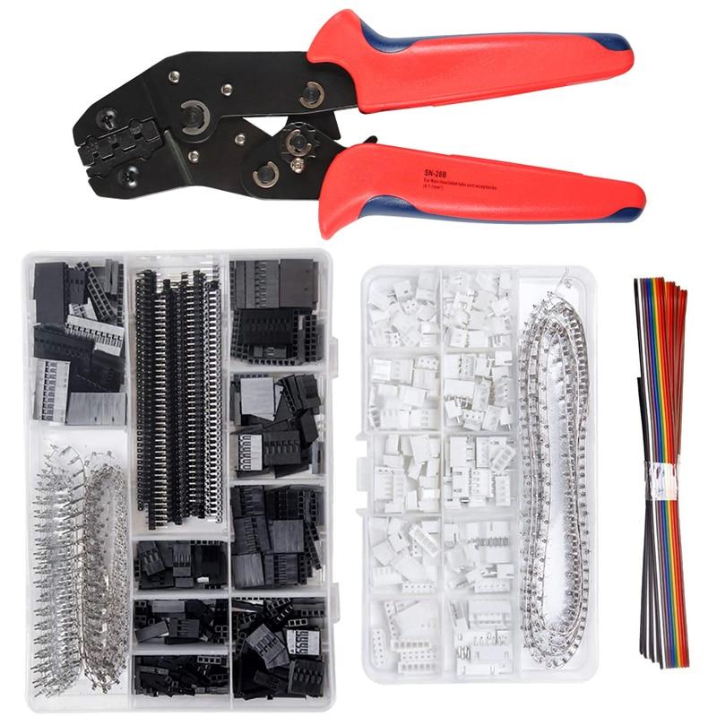 SN-28B 0.1-1mm² Crimping pliers tool set-1550pcs 2.54mm Dupont connectors and crimp pins,460pcs 2.54 mm JST-XH JST connector kit