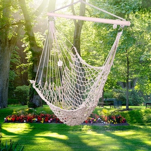 Outdoor Portable Hammock Chair Hanging Rope Chair Cotton Swing Chair Seat for Travel Camping Garden