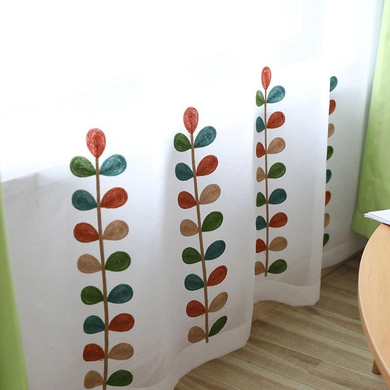 Cortinas bordadas de césped de colores, cortinas de estudio de sala de estar dormitorio hilo a juego personalizado tul cortina