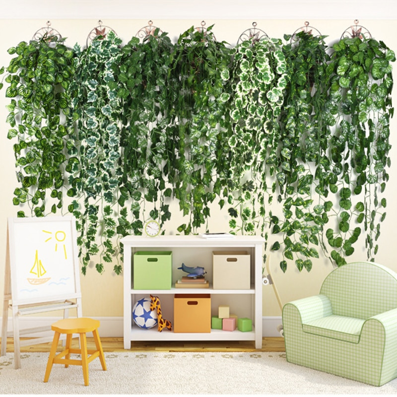 90CM Artificial Green Plant Hanging Ivy Leaf Green Luoye Grape Fake Flower Rattan House Garden Wall Wedding Party Decoration