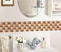 Autocollants muraux 3D de Simulation carrelage   6 pieces  autocollants de decoration de maison  Stickers muraux de salle de bains impermeables pour la mode Pegatinas Muursticker C