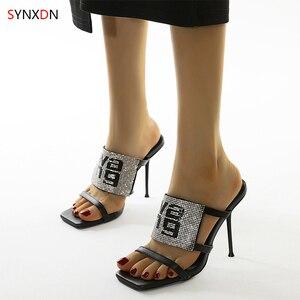 wohdhe Rome Super Heels Platform Women Sandals Rhinestone Slippers Peep Toe Slides High Heels Pumps Sandals Women Slates Mules