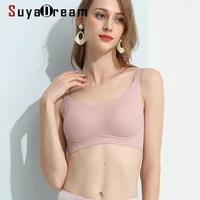 suyadream women wire free full cup bras 100natural silk lining everyday wear 3d pad bra black pink nude yo ga underwear