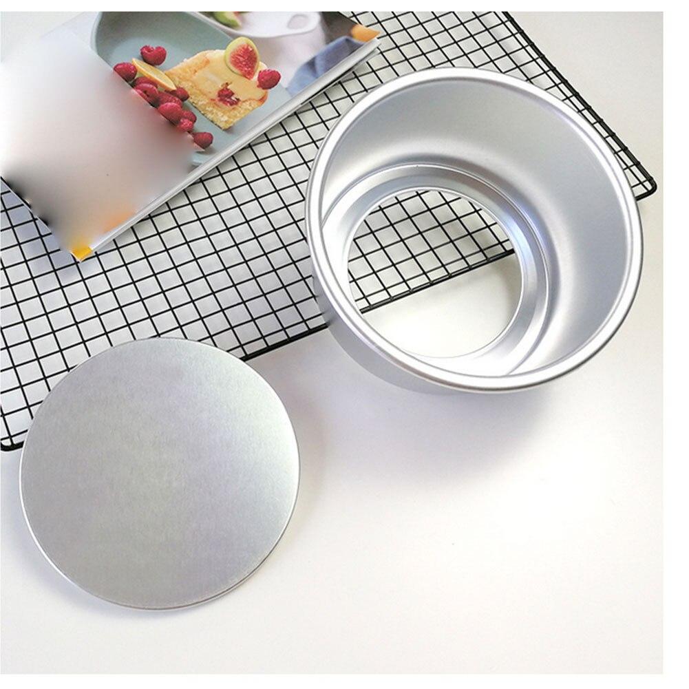 1pc sartén para pastel redondo de aleación de aluminio de pastel para hornear Pan sartén para pastel redondo queso Pan con fondo removible 10/8/6 pulgadas