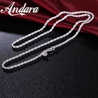 925 sterling silver necklace fashion twisted rope twist necklace men and women necklace jewelry multi size 3mm1618202224